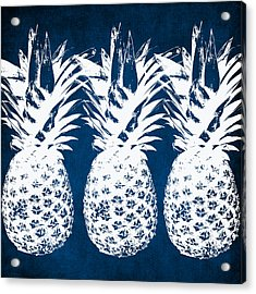 Indigo And White Pineapples Acrylic Print by Linda Woods