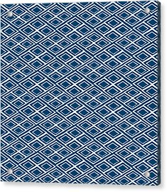 Indigo And White Small Diamonds- Pattern Acrylic Print