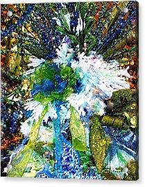 Indigo Blue Green Festive Holiday Acrylic Print by Janine Riley