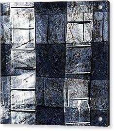 Indigo Squares 2 Of 5 Acrylic Print by Carol Leigh