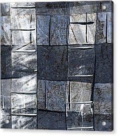 Indigo Squares 3 Of 5 Acrylic Print by Carol Leigh