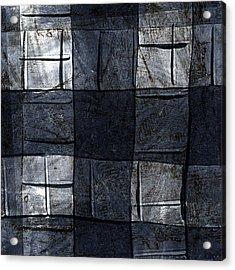 Indigo Squares 4 Of 5 Acrylic Print by Carol Leigh