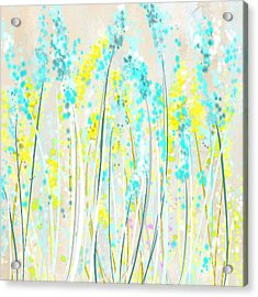 Indoor Spring- Yellow And Teal Art Acrylic Print by Lourry Legarde