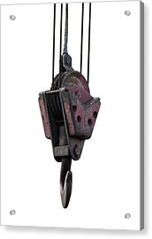 Industrial Lifting Hook And Pulley Acrylic Print by Science Photo Library