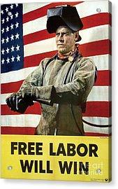Industry Labour Poster, World War II Acrylic Print