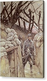 Infantrymen In A Trench, Notre-dame De Lorette, 1915 Wc On Paper Acrylic Print by Francois Flameng