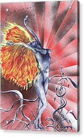 Acrylic Print featuring the mixed media Inferno by Kenneth Clarke