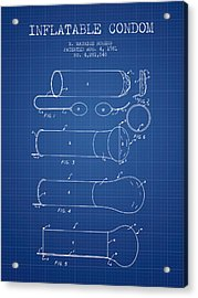 Inflatable Condom Patent From 1981 - Blueprint Acrylic Print by Aged Pixel