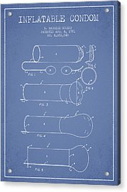 Inflatable Condom Patent From 1981 - Light Blue Acrylic Print by Aged Pixel