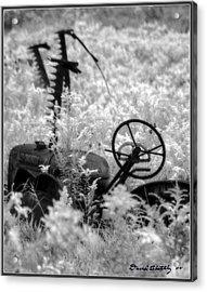 Infrared Bw Old Farm Tractor 8  Acrylic Print by David Blatchley