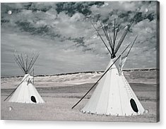 Infrared Image Of Native American Tipis Acrylic Print by Roberta Murray