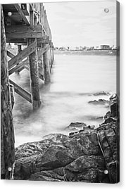 Acrylic Print featuring the photograph Infrared View Of Stormy Waves At Stramsky Wharf by Jeff Folger