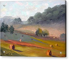 Ingram Haybales Acrylic Print by Tommy Thompson