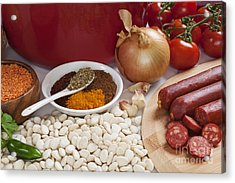 Ingredients For Spanish Chorizo Soup Acrylic Print by Colin and Linda McKie