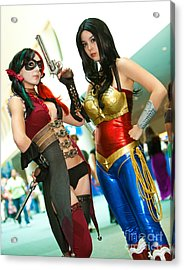 Injustice Harley Quinn And Injustice Wonder Woman Acrylic Print by Andreas Schneider
