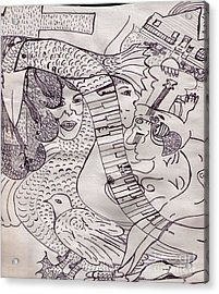 Ink Art To Color 3 Acrylic Print by Lois Picasso