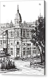 Ink Graphics Of An Old Building In Bulgaria Acrylic Print by Kiril Stanchev
