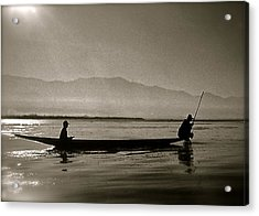 Inle Fishermen Acrylic Print by Kim Pippinger