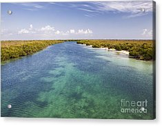 Inlet Leading To Caribbean Ocean Acrylic Print