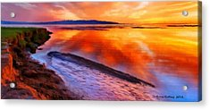 Acrylic Print featuring the painting Inlet Sunset by Bruce Nutting