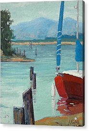 Inlet With Sailboat    Laconner Wa Acrylic Print by Raymond Kaler