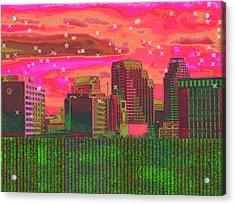Inner City - Night Falls Acrylic Print by Wendy J St Christopher