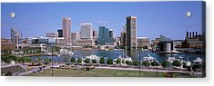 Inner Harbor Skyline Baltimore Md Usa Acrylic Print by Panoramic Images