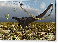 Insectoid Drones Attack A Diplodocus Acrylic Print by Mark Stevenson