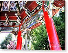 Inside Of The Stow Lake Pagoda Acrylic Print by Jim Fitzpatrick