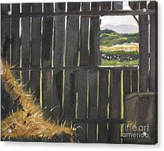Acrylic Print featuring the painting Barn -inside Looking Out - Summer by Jan Dappen