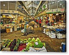 Inside The Gyeongdong Market At Seoul Acrylic Print by Tony Crehan
