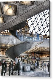 Inside The Louvre Museum In Paris Acrylic Print by Marianna Mills