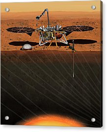 Insight Lander On Mars Acrylic Print by Nasa/jpl-caltech