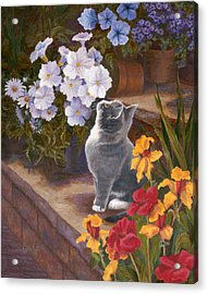 Inspecting The Blooms Acrylic Print