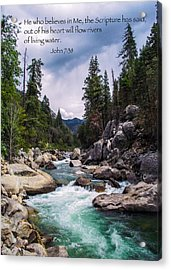 Inspirational Bible Scripture Emerald Flowing River Fine Art Original Photography Acrylic Print by Jerry Cowart