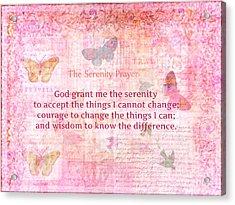 Inspirational Serenity Prayer Art Acrylic Print