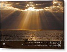 Inspirational Sun Rays Over Calm Ocean Clouds Bible Verse Photograph Acrylic Print by Jerry Cowart