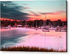 Inspiring View - Rhode Island At Dusk Warwick Neck Marina Harbor Sunset Acrylic Print by Lourry Legarde