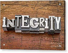 Integrity Word In Metal Type Acrylic Print