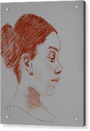 Intent Conte Sketch Acrylic Print by Carol Berning