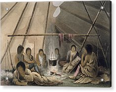 Interior Of A Cree Indian Tent, 1824 Acrylic Print
