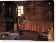 Interior Of A Loggers Cabin Acrylic Print by Ron & Nancy Sanford