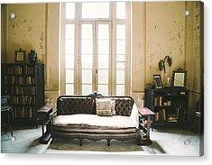 Interior Of Abandoned Ornate Colonial Villa Acrylic Print by Nikada