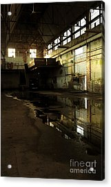 Interior Of An Abandoned Factory Acrylic Print by HD Connelly