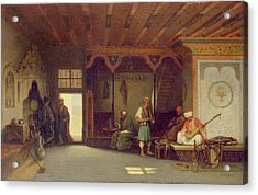 Interior Of An Oriental Cafe Oil On Panel Acrylic Print by Charles Theodore Frere