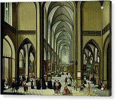 Interior Of Antwerp Cathedral Oil On Canvas Acrylic Print by Hendrik van Steenwyck