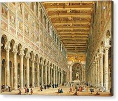Interior Of San Paolo Fuori Le Mura Acrylic Print by Giovanni Paolo Panini