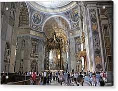 Interior Of St Peter's Dome. Vatican City. Rome. Lazio. Italy. Europe Acrylic Print by Bernard Jaubert