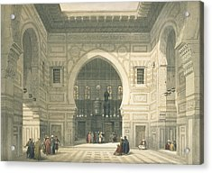 Interior Of The Mosque Of Sultan Hasan Acrylic Print by David Roberts