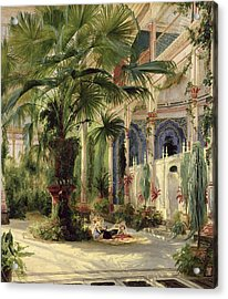 Interior Of The Palm House At Potsdam Acrylic Print by Karl Blechen